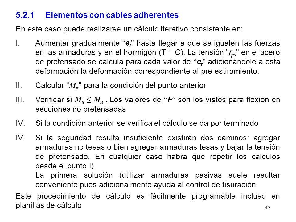 5.2.1 Elementos con cables adherentes