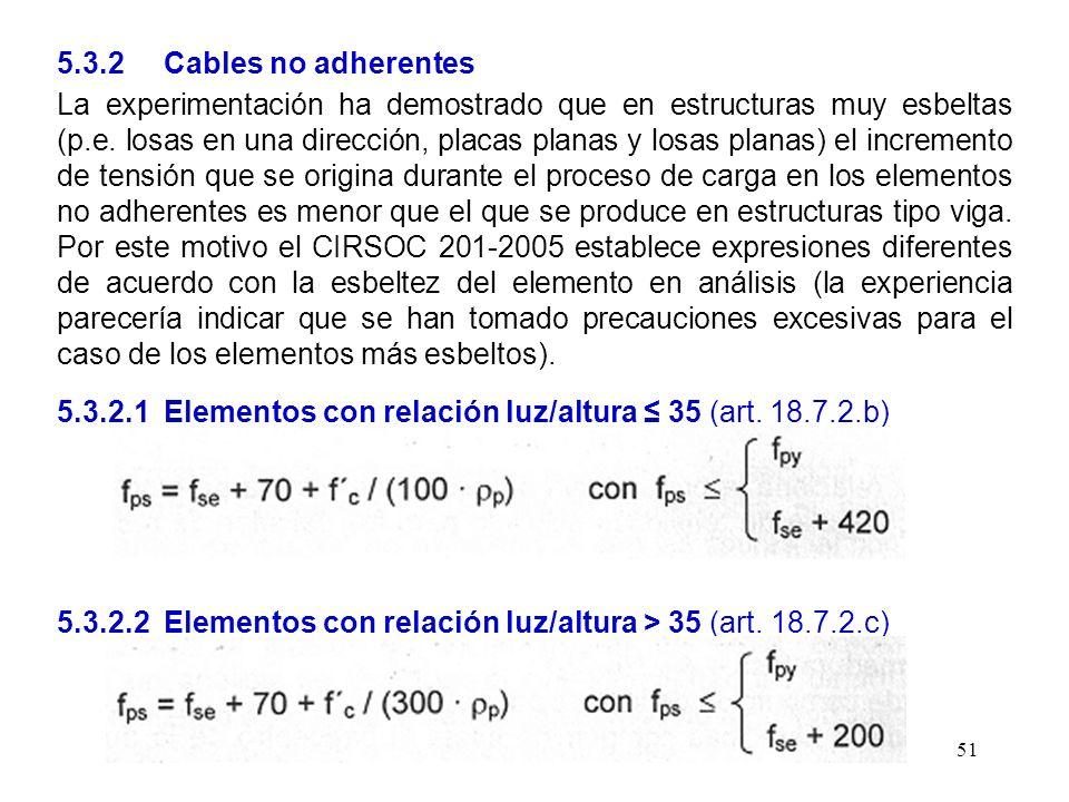 5.3.2 Cables no adherentes