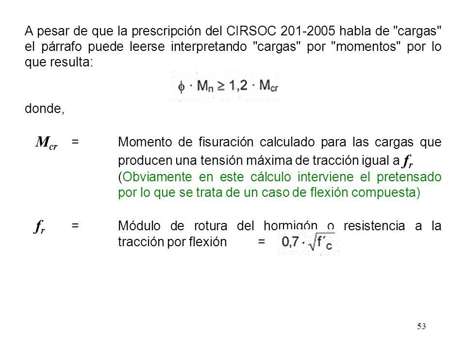 A pesar de que la prescripción del CIRSOC 201-2005 habla de cargas el párrafo puede leerse interpretando cargas por momentos por lo que resulta: