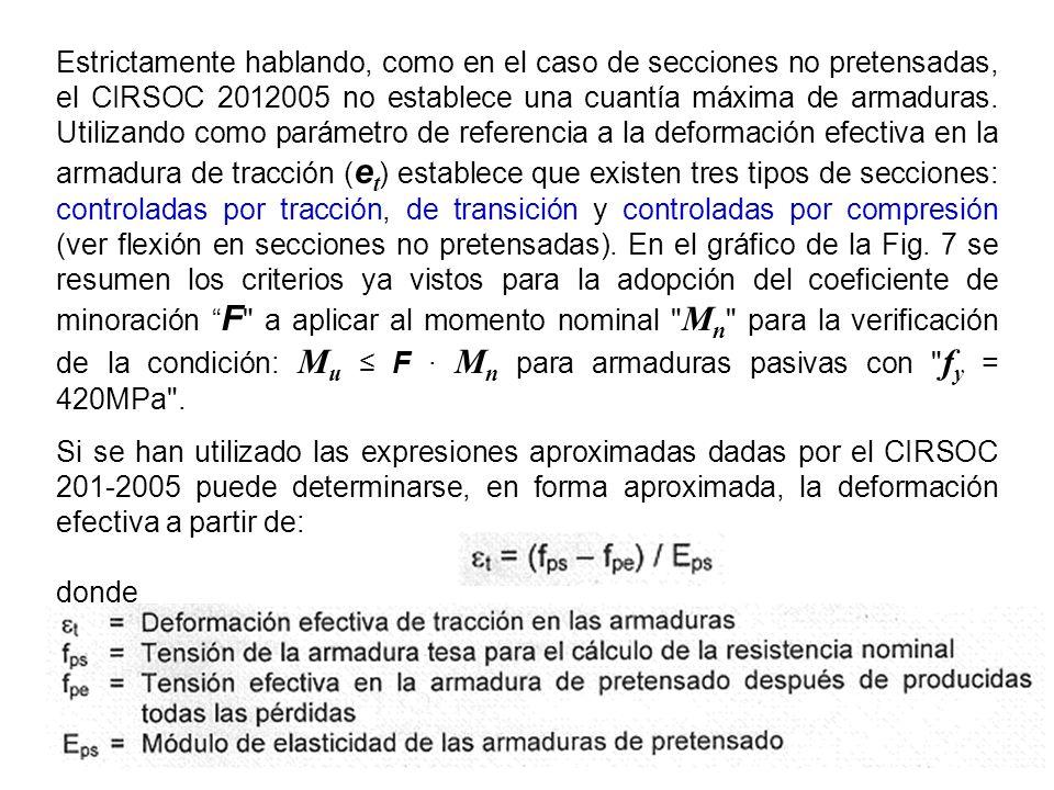 Estrictamente hablando, como en el caso de secciones no pretensadas, el CIRSOC 2012005 no establece una cuantía máxima de armaduras. Utilizando como parámetro de referencia a la deformación efectiva en la armadura de tracción (et) establece que existen tres tipos de secciones: controladas por tracción, de transición y controladas por compresión (ver flexión en secciones no pretensadas). En el gráfico de la Fig. 7 se resumen los criterios ya vistos para la adopción del coeficiente de minoración F a aplicar al momento nominal Mn para la verificación de la condición: Mu ≤ F · Mn para armaduras pasivas con fy = 420MPa .