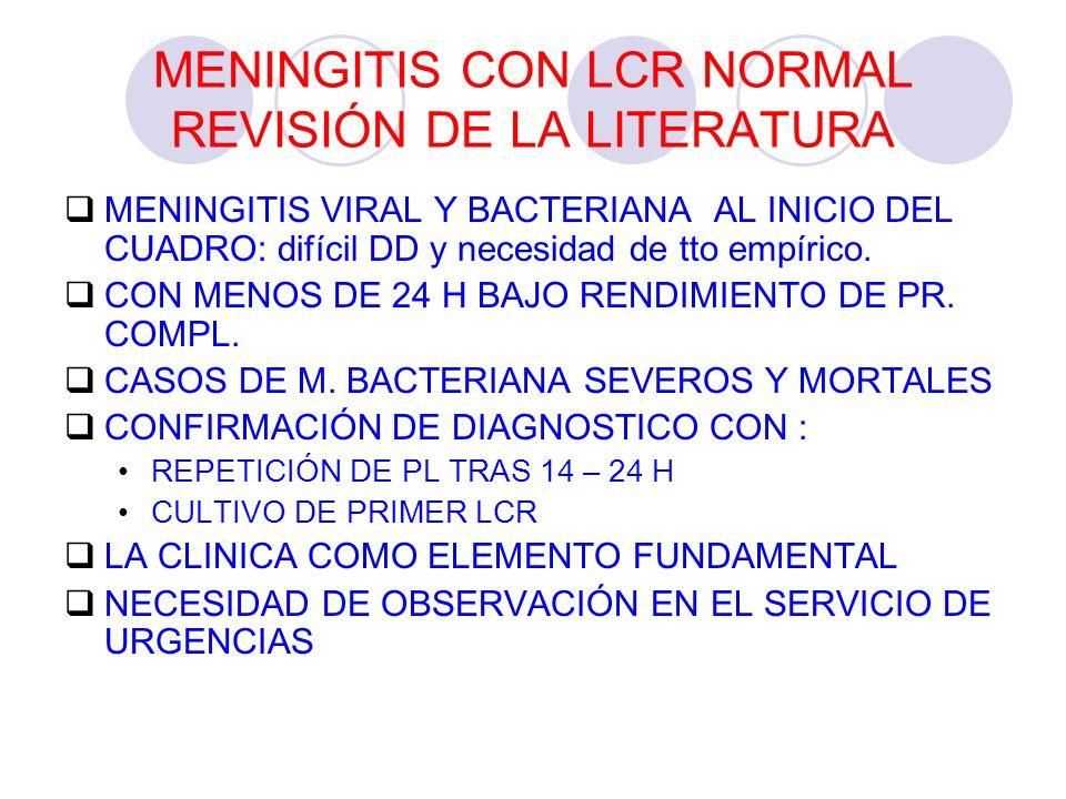 MENINGITIS CON LCR NORMAL REVISIÓN DE LA LITERATURA