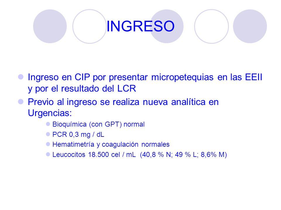 INGRESO Ingreso en CIP por presentar micropetequias en las EEII y por el resultado del LCR.