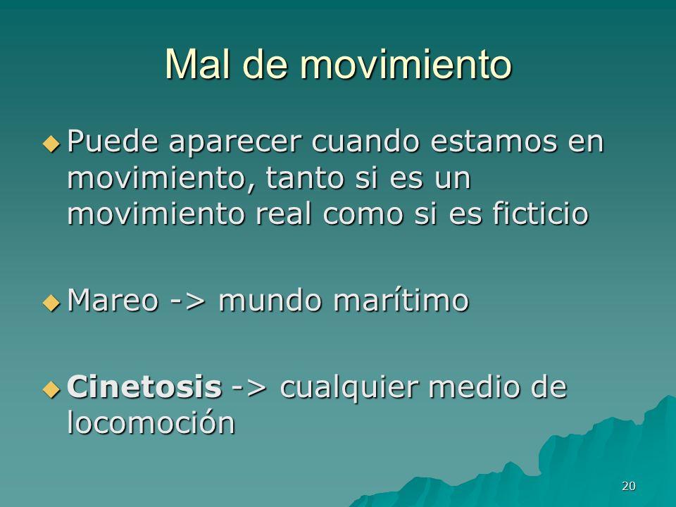 Mal de movimientoPuede aparecer cuando estamos en movimiento, tanto si es un movimiento real como si es ficticio.
