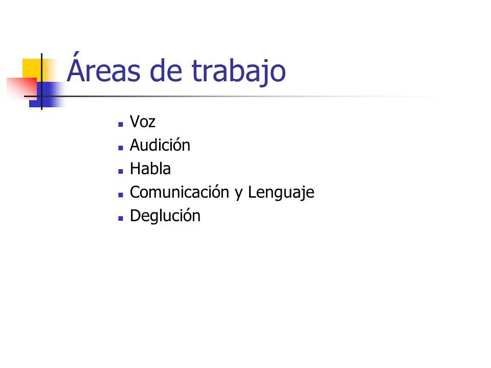 Áreas de trabajo Voz Audición Habla Comunicación y Lenguaje Deglución