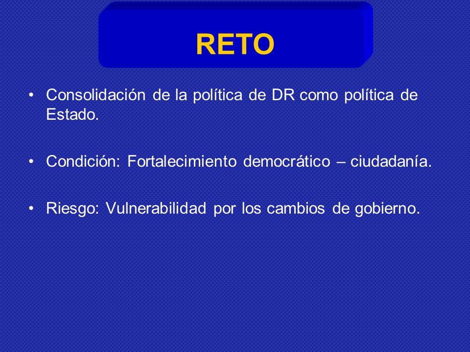RETO Consolidación de la política de DR como política de Estado.