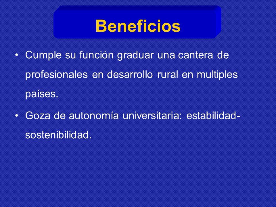 Beneficios Cumple su función graduar una cantera de profesionales en desarrollo rural en multiples países.