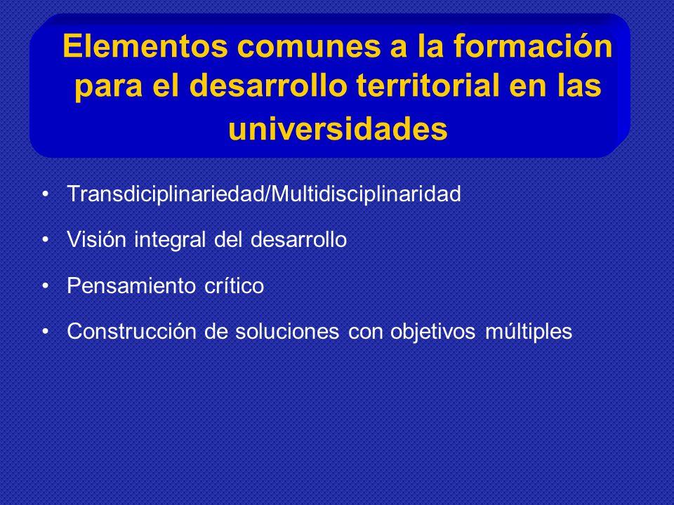 Elementos comunes a la formación para el desarrollo territorial en las universidades