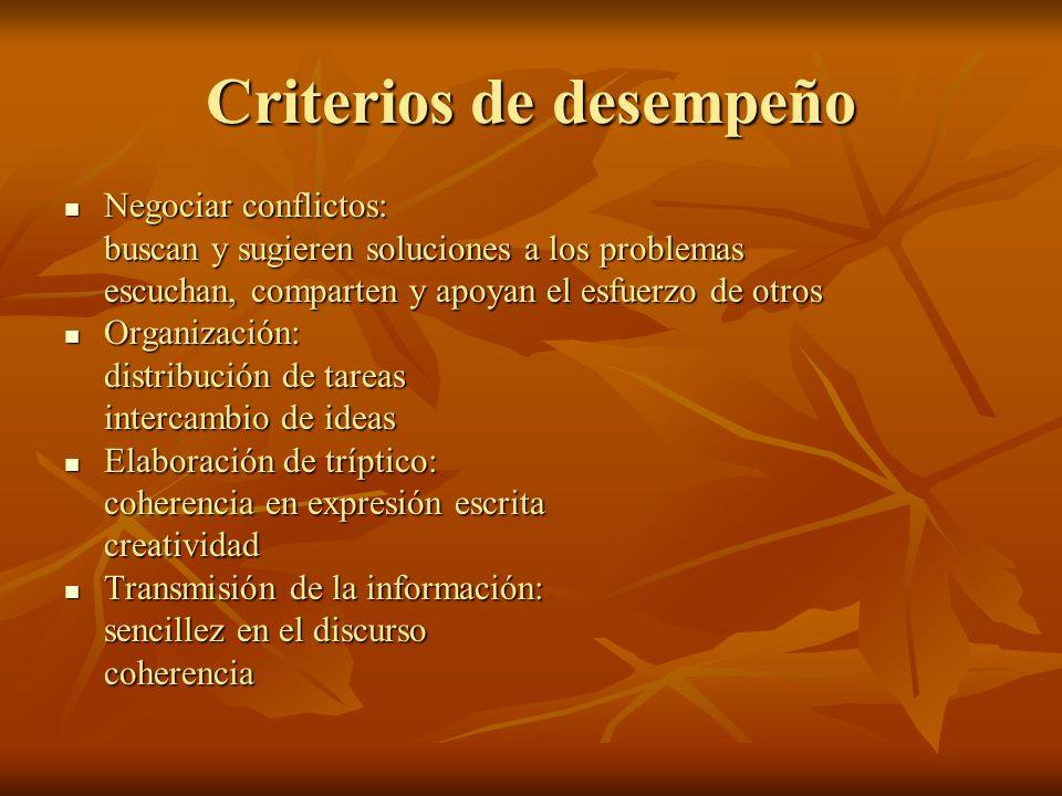 Criterios de desempeño