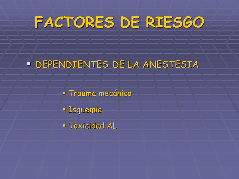 FACTORES DE RIESGO DEPENDIENTES DE LA ANESTESIA Trauma mecánico