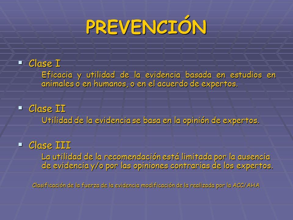 PREVENCIÓN Clase I Clase II Clase III