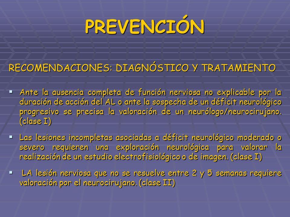 PREVENCIÓN RECOMENDACIONES: DIAGNÓSTICO Y TRATAMIENTO