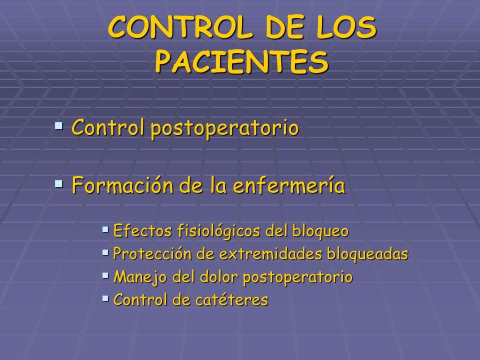 CONTROL DE LOS PACIENTES