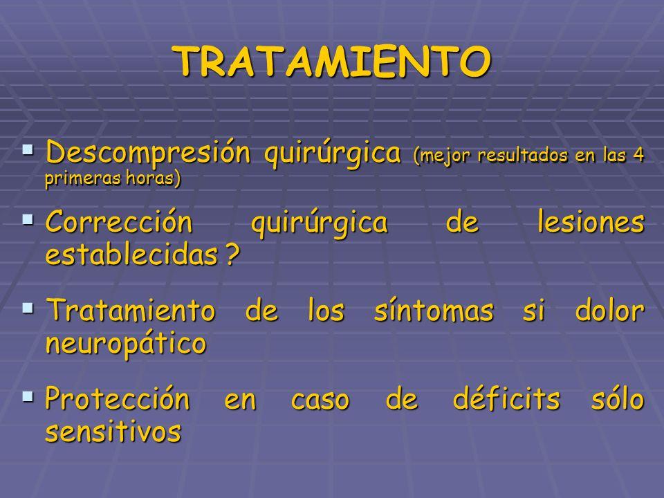 TRATAMIENTO Descompresión quirúrgica (mejor resultados en las 4 primeras horas) Corrección quirúrgica de lesiones establecidas