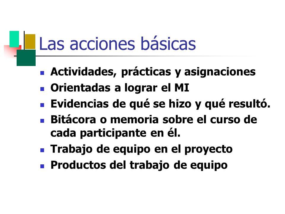 Las acciones básicas Actividades, prácticas y asignaciones