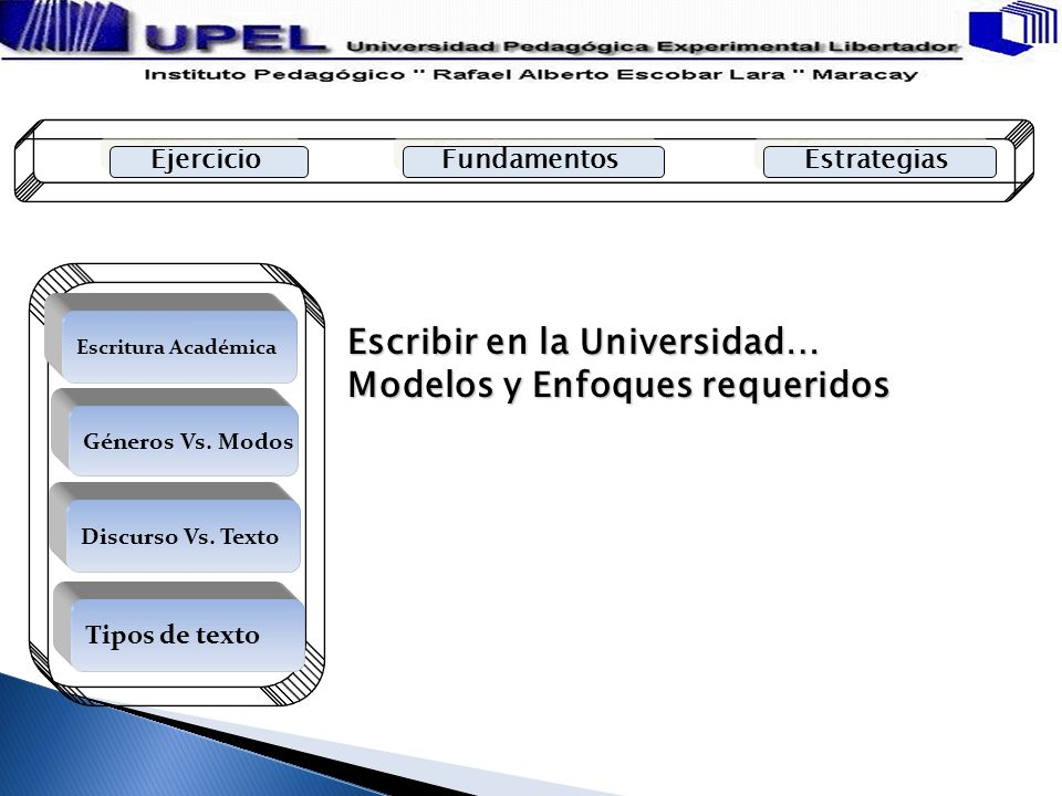 Escribir en la Universidad… Modelos y Enfoques requeridos