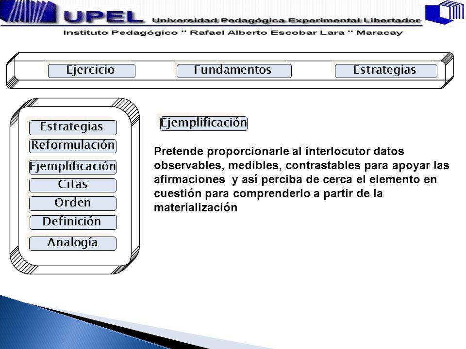 Ejercicio Fundamentos. Estrategias. Ejemplificación. Estrategias. Reformulación.