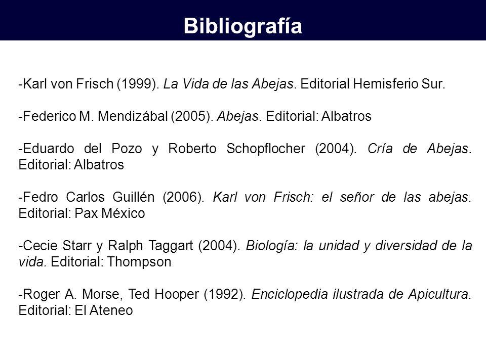 Bibliografía -Karl von Frisch (1999). La Vida de las Abejas. Editorial Hemisferio Sur. -Federico M. Mendizábal (2005). Abejas. Editorial: Albatros.
