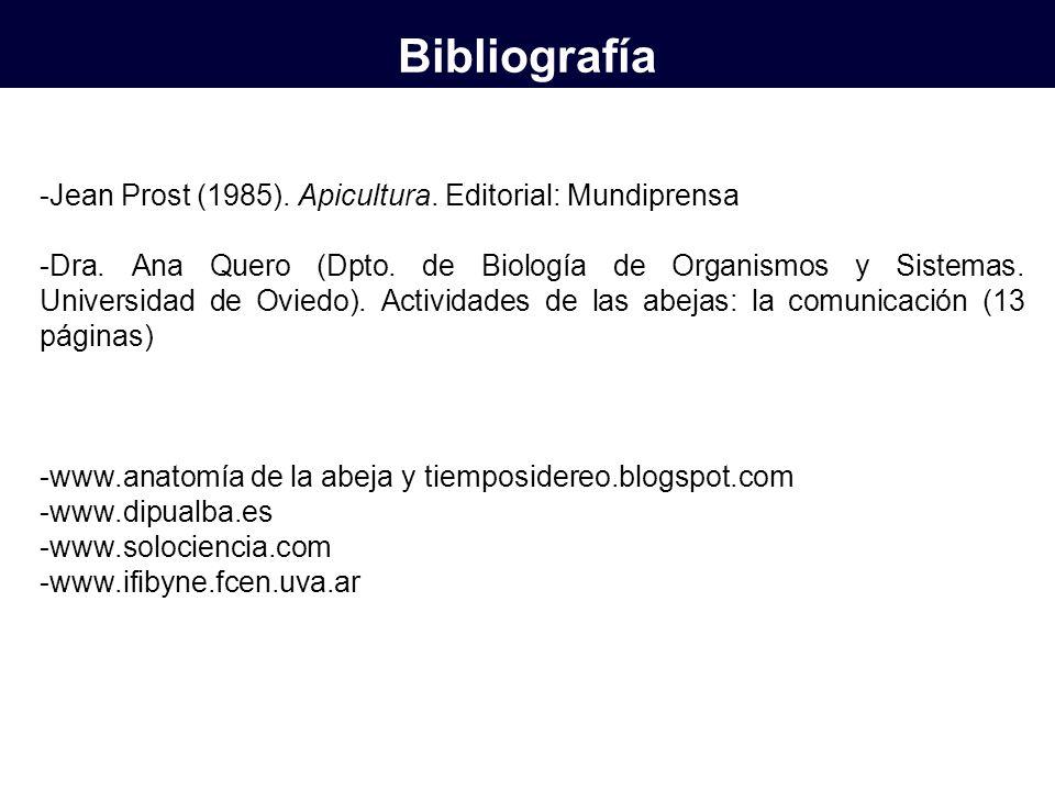Bibliografía -Jean Prost (1985). Apicultura. Editorial: Mundiprensa