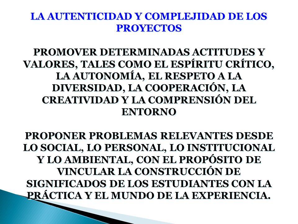 LA AUTENTICIDAD Y COMPLEJIDAD DE LOS PROYECTOS