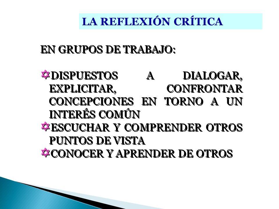 LA REFLEXIÓN CRÍTICAEN GRUPOS DE TRABAJO: DISPUESTOS A DIALOGAR, EXPLICITAR, CONFRONTAR CONCEPCIONES EN TORNO A UN INTERÉS COMÚN.