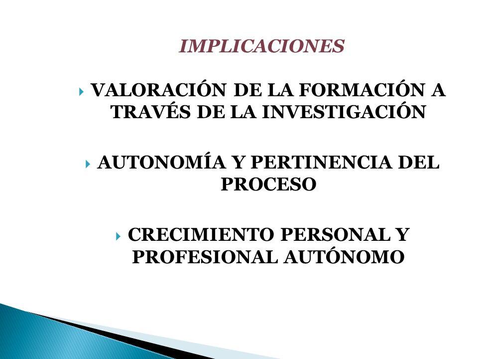 VALORACIÓN DE LA FORMACIÓN A TRAVÉS DE LA INVESTIGACIÓN