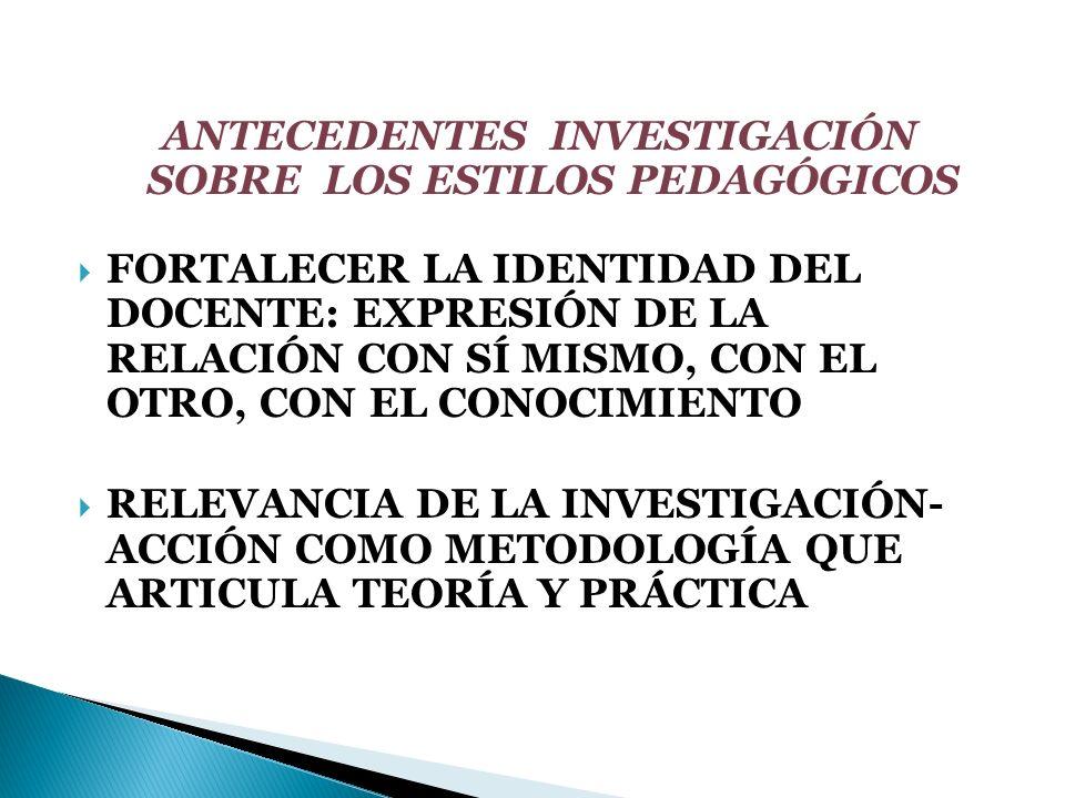 ANTECEDENTES INVESTIGACIÓN SOBRE LOS ESTILOS PEDAGÓGICOS