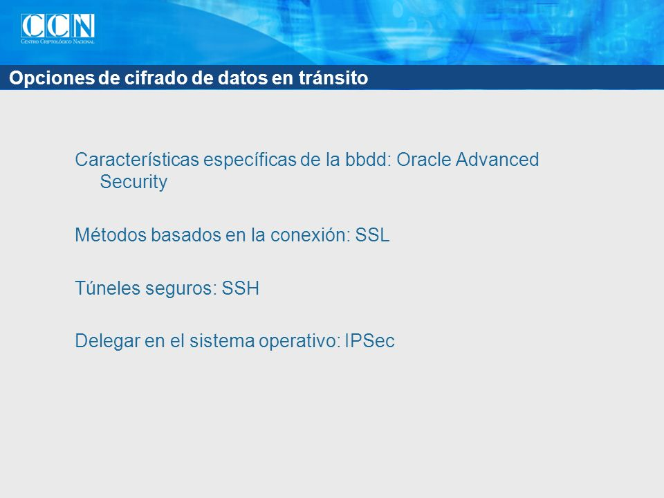 Opciones de cifrado de datos en tránsito