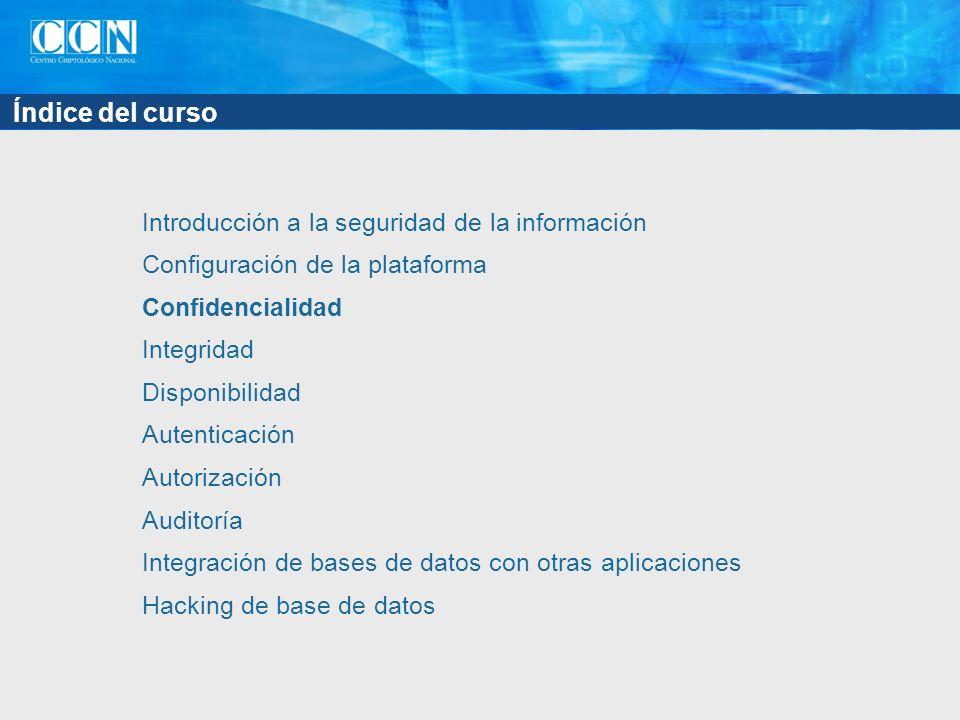 Índice del curso Introducción a la seguridad de la información