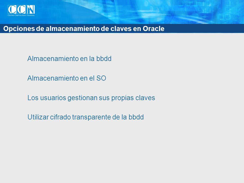 Opciones de almacenamiento de claves en Oracle