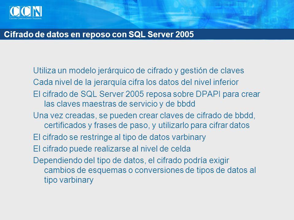 Cifrado de datos en reposo con SQL Server 2005