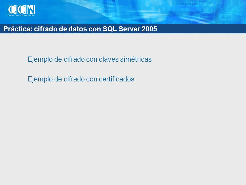 Práctica: cifrado de datos con SQL Server 2005