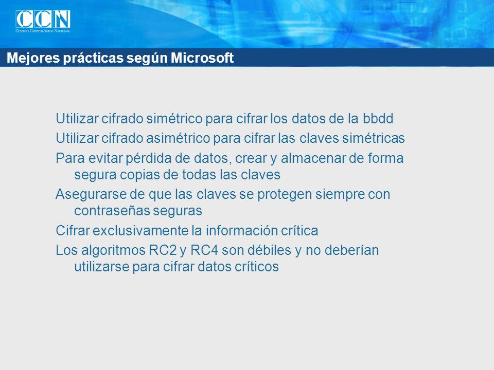 Mejores prácticas según Microsoft