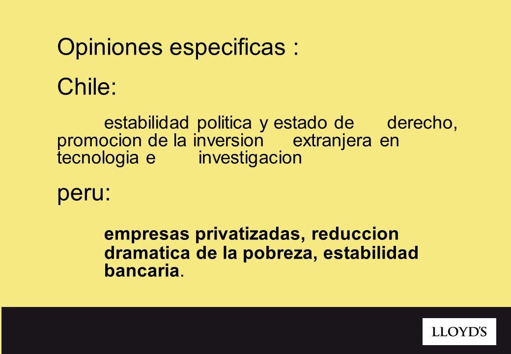 Opiniones especificas : Chile: