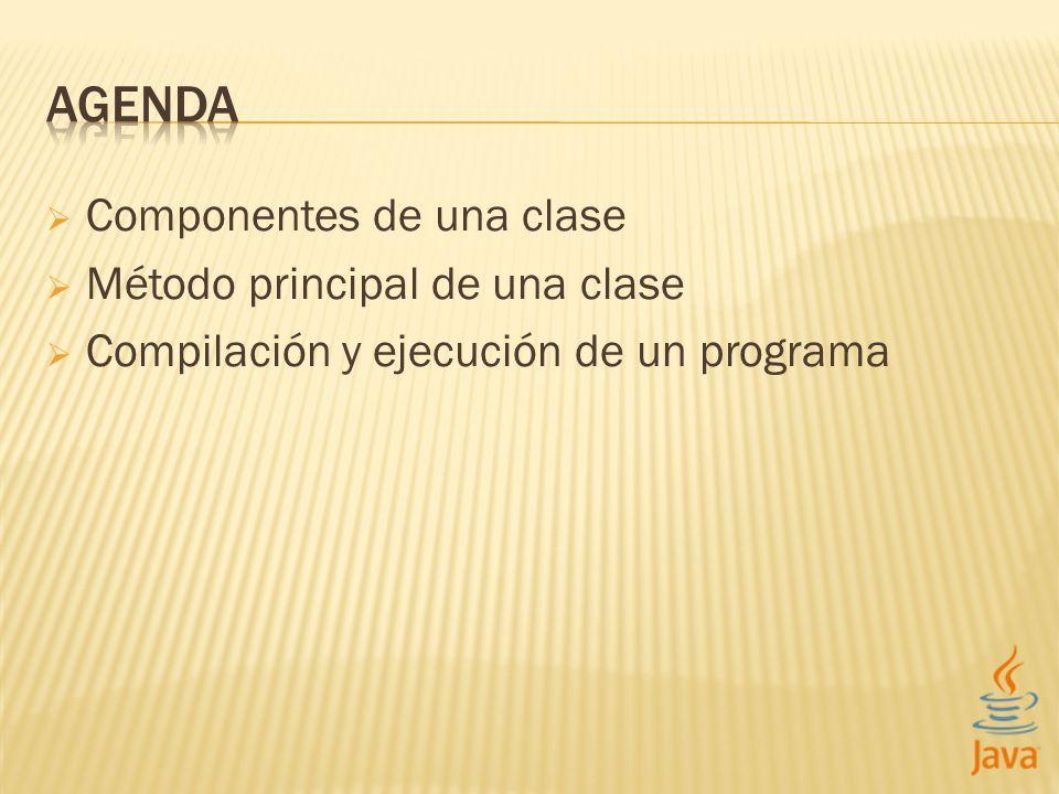AGENDA Componentes de una clase Método principal de una clase