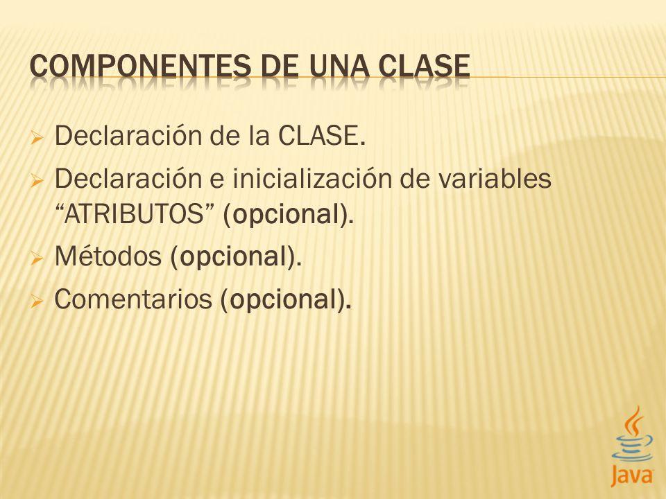 COMPONENTES DE UNA CLASE