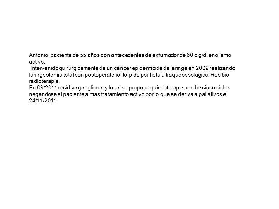 Antonio, paciente de 55 años con antecedentes de exfumador de 60 cig/d, enolismo activo..