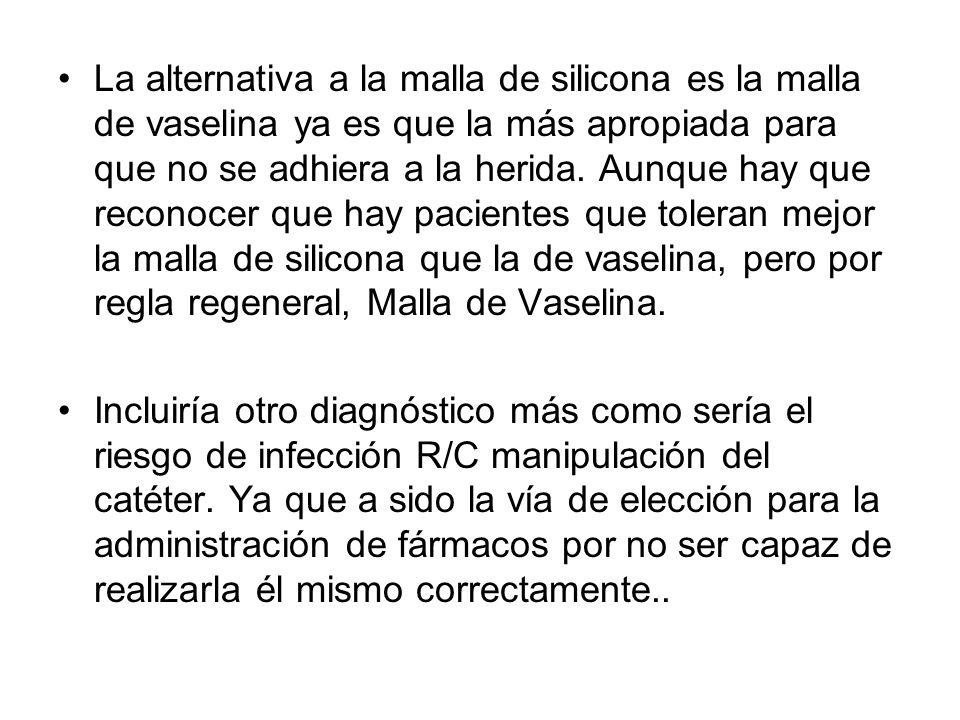 La alternativa a la malla de silicona es la malla de vaselina ya es que la más apropiada para que no se adhiera a la herida. Aunque hay que reconocer que hay pacientes que toleran mejor la malla de silicona que la de vaselina, pero por regla regeneral, Malla de Vaselina.