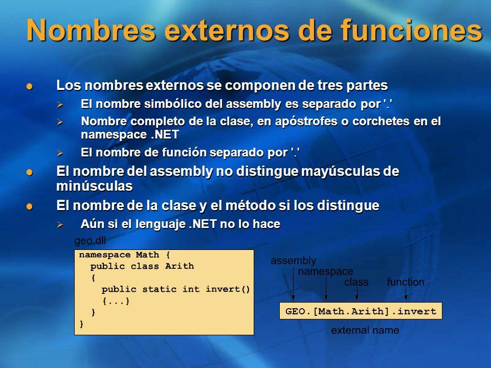 Nombres externos de funciones
