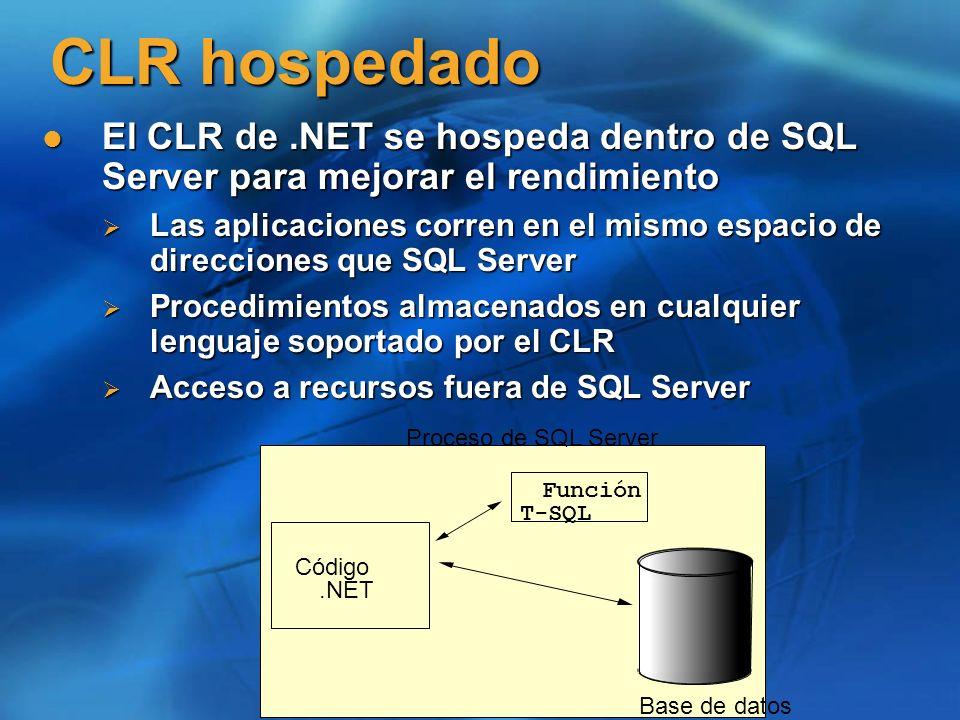 CLR hospedado El CLR de .NET se hospeda dentro de SQL Server para mejorar el rendimiento.