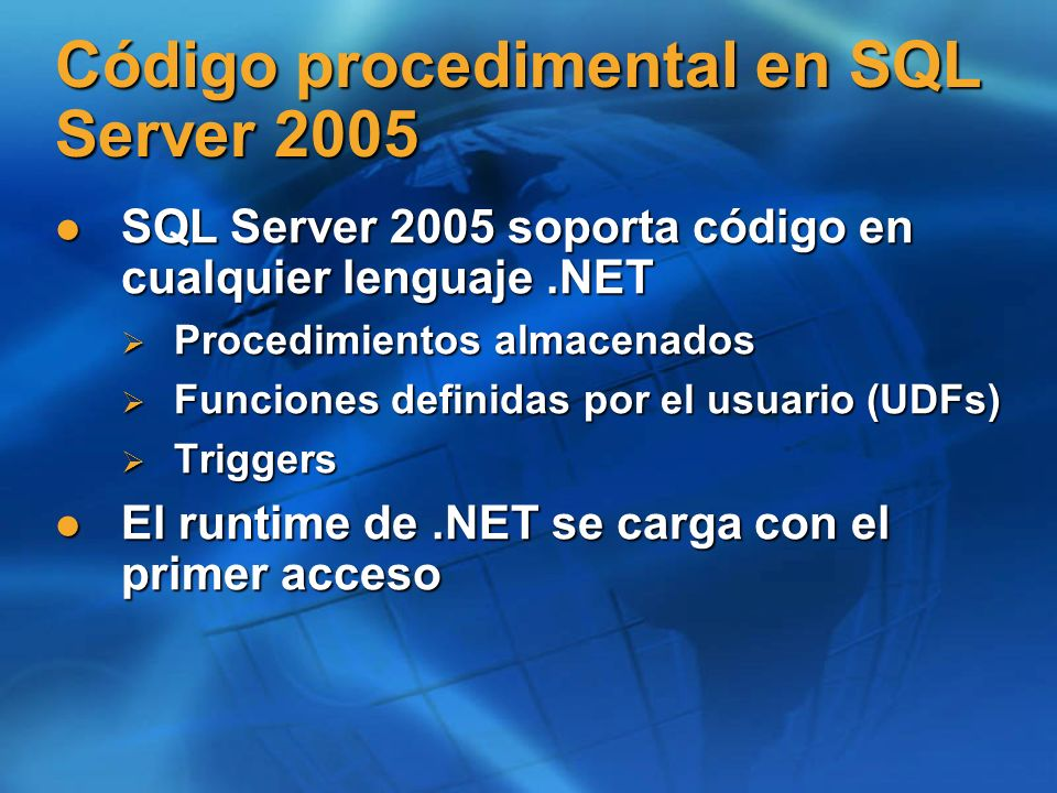 Código procedimental en SQL Server 2005