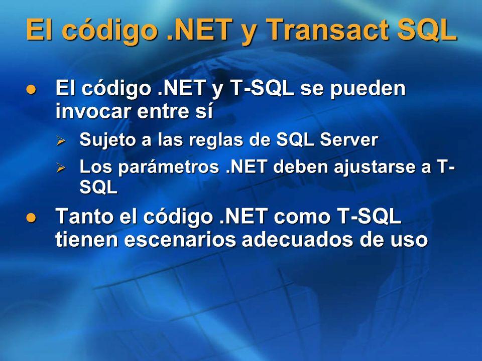 El código .NET y Transact SQL