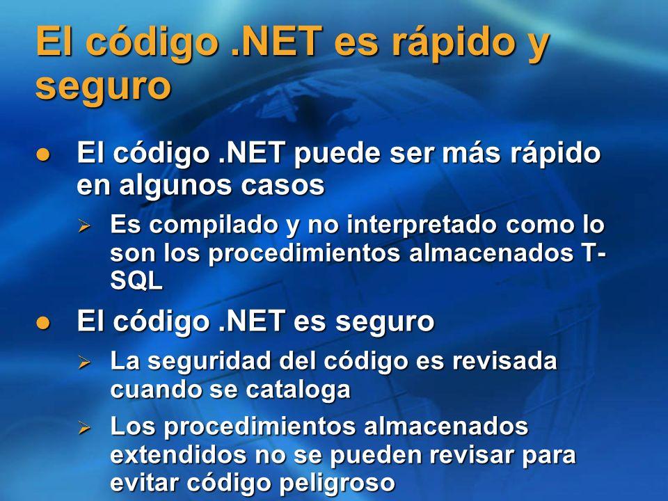 El código .NET es rápido y seguro