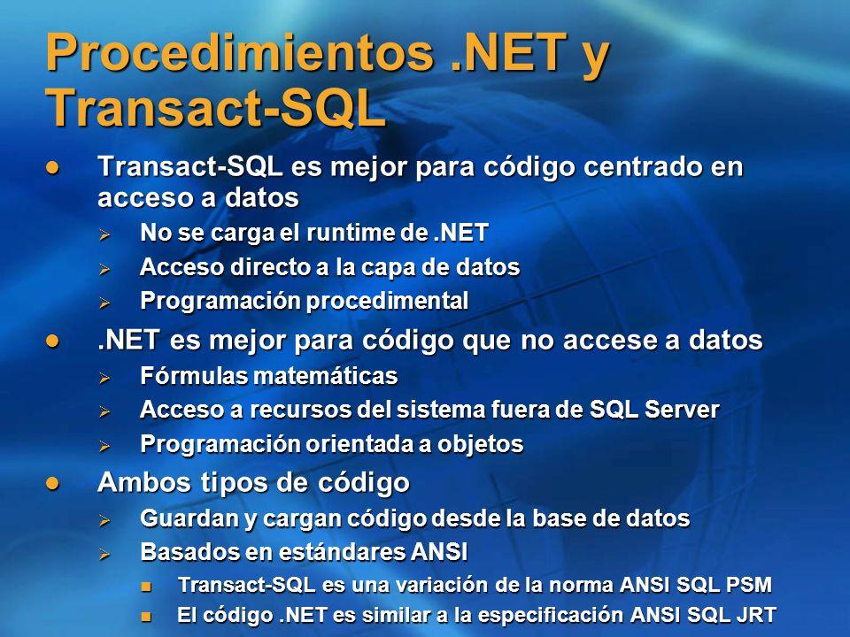 Procedimientos .NET y Transact-SQL