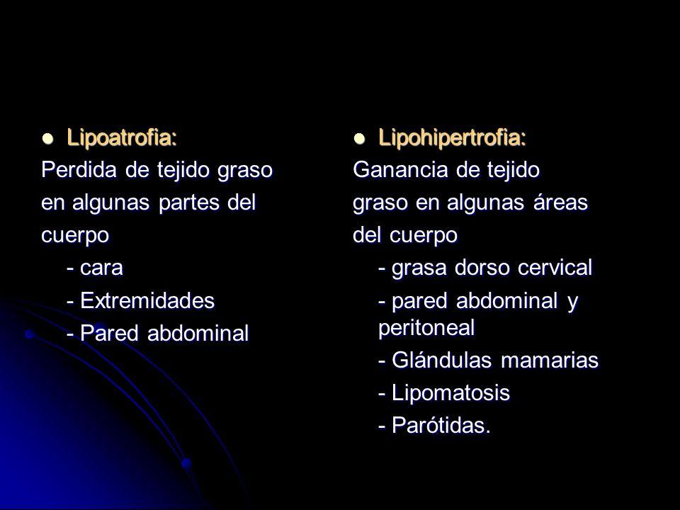 Lipoatrofia:Perdida de tejido graso. en algunas partes del. cuerpo. - cara. - Extremidades. - Pared abdominal.