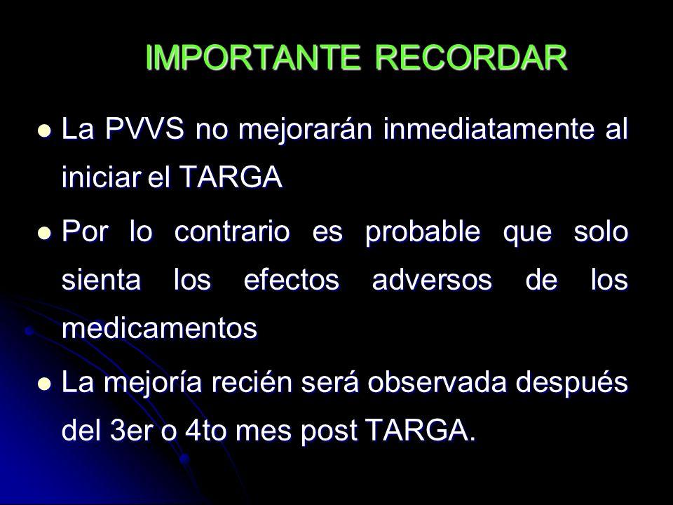 IMPORTANTE RECORDAR La PVVS no mejorarán inmediatamente al iniciar el TARGA.
