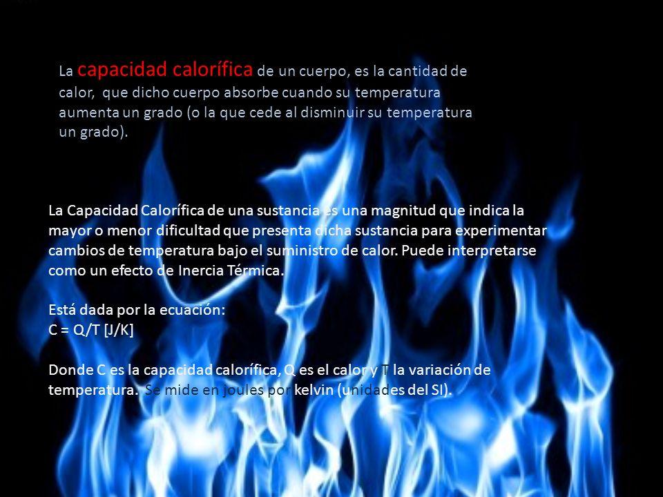 La capacidad calorífica de un cuerpo, es la cantidad de calor, que dicho cuerpo absorbe cuando su temperatura aumenta un grado (o la que cede al disminuir su temperatura un grado).