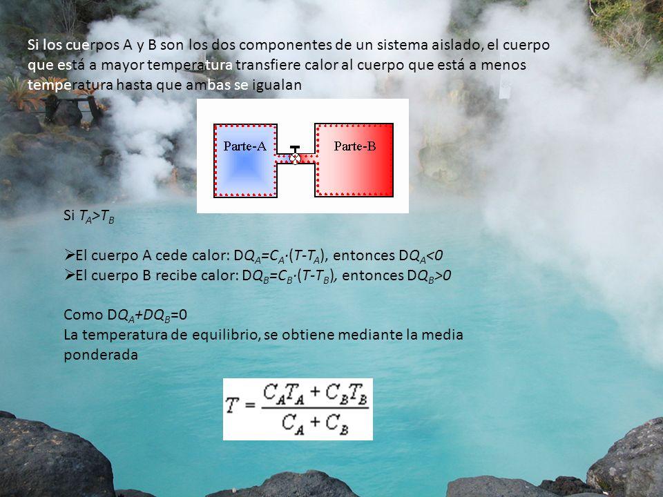 Si los cuerpos A y B son los dos componentes de un sistema aislado, el cuerpo que está a mayor temperatura transfiere calor al cuerpo que está a menos temperatura hasta que ambas se igualan