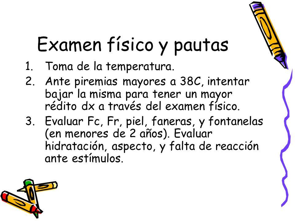 Examen físico y pautas Toma de la temperatura.
