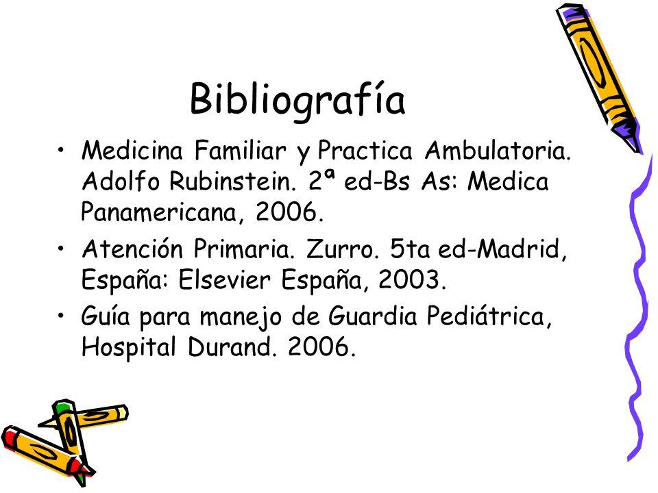 BibliografíaMedicina Familiar y Practica Ambulatoria. Adolfo Rubinstein. 2ª ed-Bs As: Medica Panamericana, 2006.