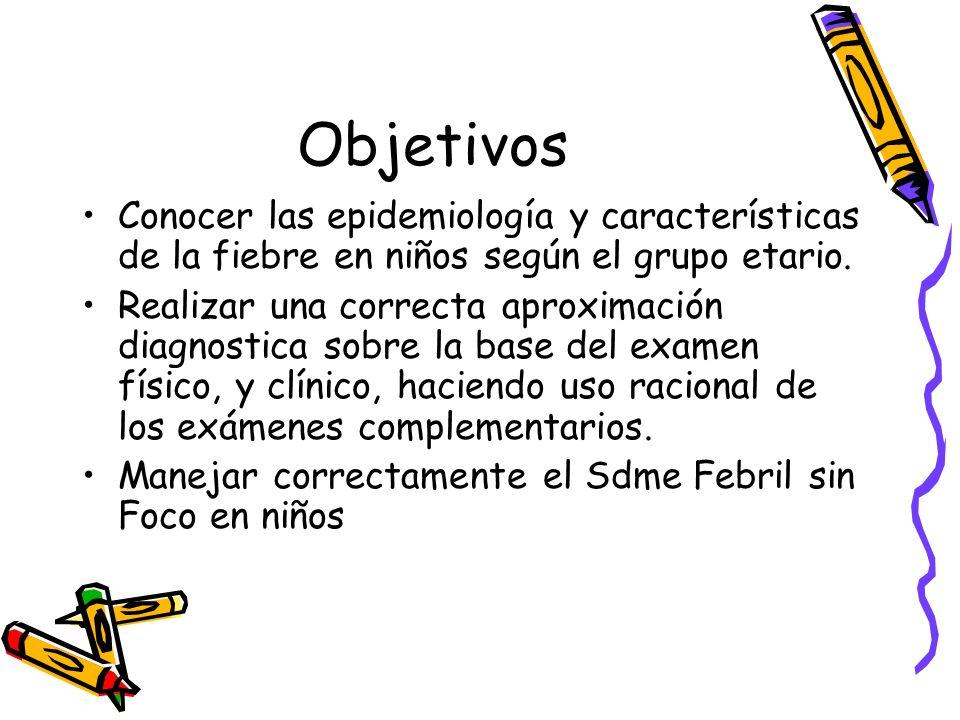Objetivos Conocer las epidemiología y características de la fiebre en niños según el grupo etario.
